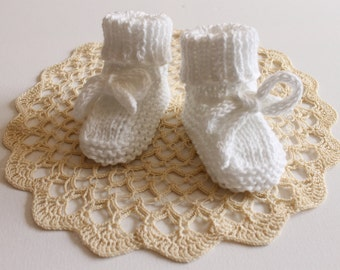 Hand knitted Cotton Booties for Baby Boy or Girl NB to 12M Made to Order Custom Colour