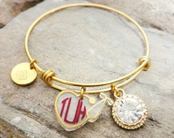 Nurse Gift - Nurse Monogram Bracelet - Nurse Bangle - Nurse Charm Bracelet - RN Gift - RN Bracelet - RN Monogrammed Bracelet - Nurse Jewelry
