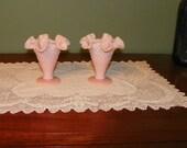 Vintage Fenton Glass VASES Pair Dresser Dish Bowl Pink Milk Glass Hobnail Pastel