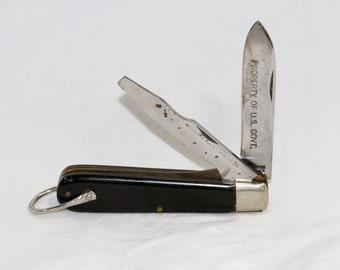 US Army Pocket Knife - Military Pocket Knife and Screwdriver - Kutmaster USA - Vintage 1950's
