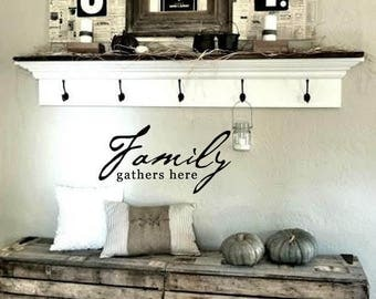 FAMILY Wall Quotes Decal - FAMILY gathers here - Popular Sayings  - Vinyl Wall Art Sayings