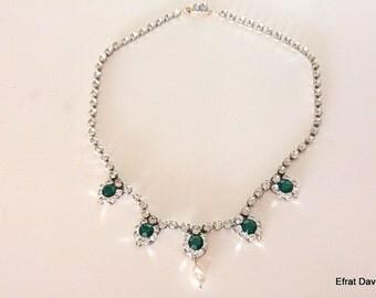 Bridal Jewelry,Wedding jewelry,Vintage inspired rhinestone Silver Necklace,Emerald Green Necklace,Emerald Stone,Swarovski Crystals,1920's