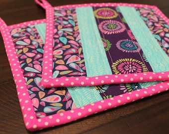 Quilted Pot holder Set, Purple, Aqua, Pink, Green, Spring, Hot pads, Potholders, trivet, Kitchen Decor, insulated