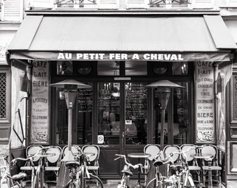Paris Black and White Photograph, Au Petit Fer a Cheval, Little Horseshoe, Large Wall Art, French Kitchen Decor, Travel Photograph