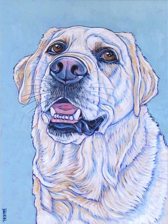 "Pet Portrait Art on Canvas 9""x12"" Custom Acrylic Painting of One Dog, Cat, or Other Animal. Dog Lover Christmas Gift or Pet Loss Memorial"