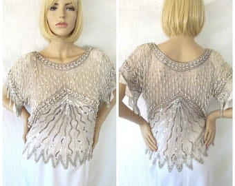 STUNNING Vintage Swee Lo Silk White Beaded Blouse with Silver Sequins Pearlescent Beads Zig Zag Sleeves Flapper Style Dressy Top Sz Medium
