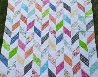 Bright Herringbone Quilt - Twin Quilt - Large Lap Quilt - Rainbow Color Quilt - Herringbone Design - Diamond Quilt