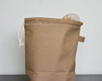 knitting project drawstring bag - small - khaki