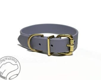 "NEW - Stormy Gray Biothane Dog Collar / 1"" (25mm) Wide / Leather Look and Feel / Stainless Steel or Solid Brass Hardware / Custom Collar"