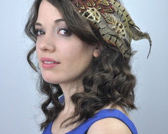 Large Feather Hair Clip Fascinator in Natural Partridge and Pheasant Feathers