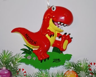 Personalized Red Dinosaur Christmas Ornament