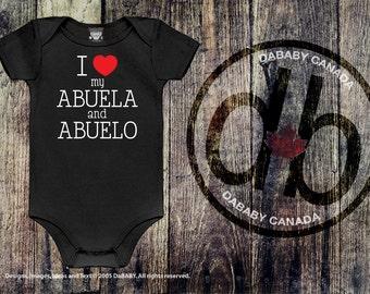 I love my Abuela & Abuelo, Abuela and Abuelo Onesie, Baby Girls Clothing, Baby Boys Clothing, Spanish Grandparents, Newborn Baby Gift