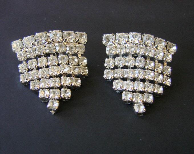 Vintage Rhinestone Shoe Buckles Clips Mid Century Jewelry Jewellery