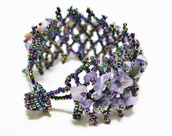 Raw Amethyst Bracelet, Raw Stone Bracelet, Raw Amethyst Jewelry, Raw Gemstone Bracelet, Seed Bead Bracelet, Men Bracelet, Women Bracelet