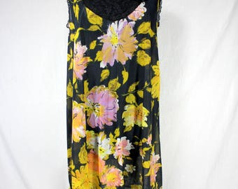 Vintage Vanity Fair Nightgown Black with Floral Nylon and Lace