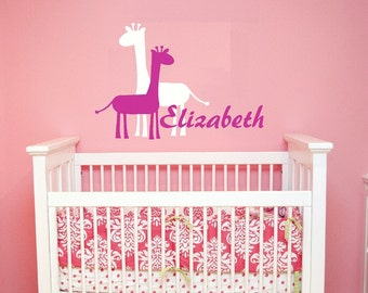 girl baby Wall Decal Nursery - Giraffe name Monogram Wall Decal - girls Name Wall Decal - Childrens Wall Decal - Vinyl Wall decal - WD160