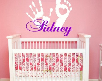baby Wall Decal Nursery - hand print foot print name Wall Decal - girl Name Wall Decal - Children Wall Decal - Vinyl Wall decal - WD151