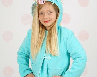 Unicorn Coat, Girls Fleece or Wool Winter Coat, Little Girls Jacket, Lightweight Spring Jacket, Fall Coat, Wild & Woolly