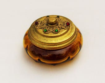 Vintage powder jar with jeweled and filigree lid, amber glass powder jar with metal lid, 1930's vanity accessory