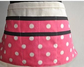 Vendor Apron,  Women's Utility Apron, Pink and white polka dot Apron, Teacher apron, Pink and black vendor apron.  Ready to ship.