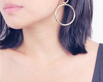 Geo large open circle dangle earrings
