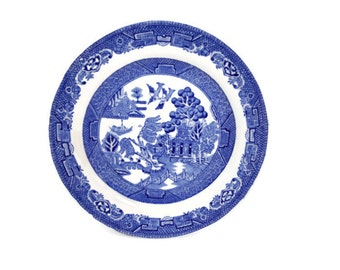 Vintage Ridgways Pottery Made in England Blue Willow Saucer Cobalt and White Dinnerware Table Ware Transfer Ware