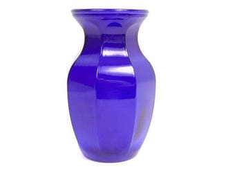 Vintage Blue Glass Vase Embossed GGG Marking 8 Inch Cobalt Blue Vessel Flower Arrangement Centerpiece