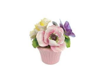 Vintage Staffordshire Floral Bouquet Bone China Made in England Pink Vase Hand Sculpted Purple Pink Yellow Flowers in Basket