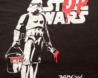 Star Wars Banksy Men's tshirt black cotton all sizes New hand printed