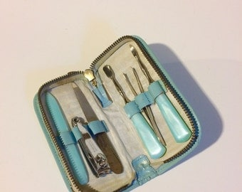 Vintage Manicure Set and Zipper Case