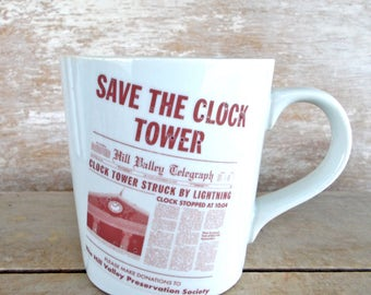 Save the Clocktower Coffee Mug, Discounted Second, Back To the Future Tea Cup, Flux Capacitor, DeLorean Time Machine, Nerd Geek Mug, Unusual