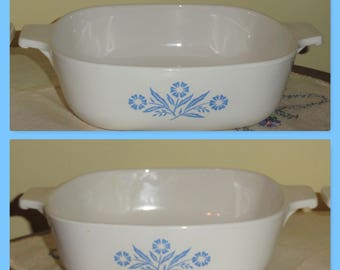 2 Vintage CORNING WARE Cornflower Blue Pattern 1QT Square Casserole Oven Baking Dishes