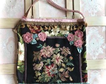 Baroque French Market Bag Shabby Chic Haute Couture Needlepoint Rhinestone Collage Beauty