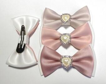 Flower girl Pink Blush, Dusty Rose Light Rose  hair clip accessory