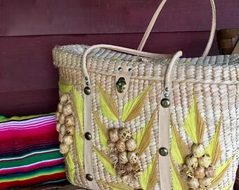 Large Vintage Woven Palm Tote Bag with Tropical Flower Trim