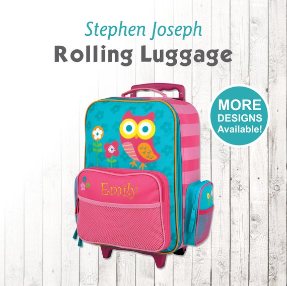 Owl Rolling Luggage, Stephen Joseph Kids Luggage, Personalized Children's Suitcase, Embroidered Name, Travel Suitcase for kids
