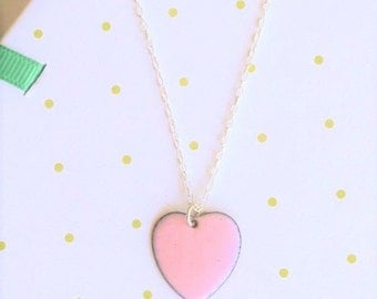 Pink heart necklace - baby pink enamel jewelry necklace - light pink love heart pendant - soft pink necklace - gift for wife