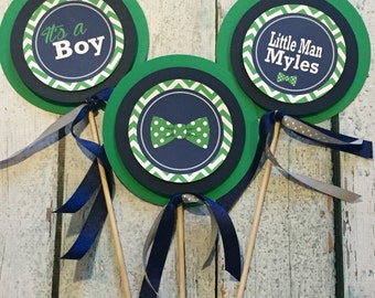 LITTLE MAN BOWTIE Happy Birthday or Baby Shower {3 Piece Centerpiece} - Navy Green - Party Packs Available
