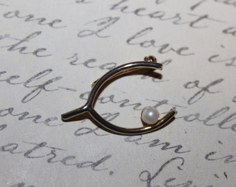 Vintage 1/20 12K Gold Filled Wish Bone Brooch/Pin with Pearl