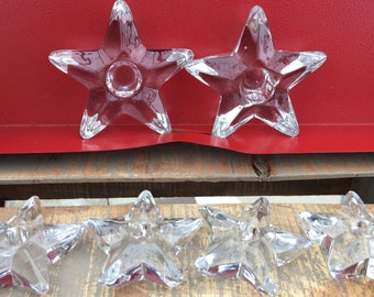Set of Six Thick Glass Star Shaped Taper Candle Holders/Christmas Candle Holders/Heavy Beautiful Christmas Table Decor