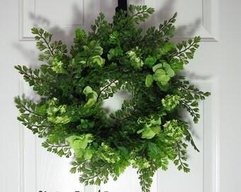 "Spring Garden Wreath 20"" Fern Eucalyptus Hydrangea Snowball Viburnum Cottage Style French Country Shabby Chic Farmhouse Decor"