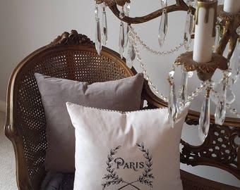 Paris Wreath Pillow 16X17 Vintage BlackCream Print Ticking Romantic ShabbyChic Cottage French Farmhouse Style Decor Throw Pillow Down Insert