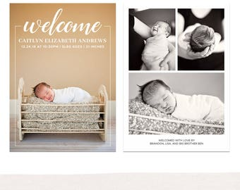 5x7 Birth Announcement Photo Card Template, Newborn Announcement, Baby Boy, Baby Girl, Multiple Photos, Simple, Clean, Welcome - B55