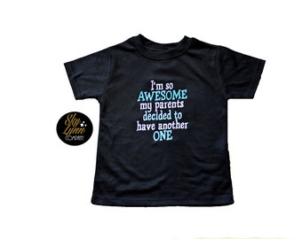 Big Brother Pregnancy Announcement So Awesome Another One Embroidered Shirt or Bodysuit Toddler, Baby