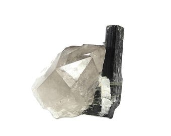 Tourmaline Crystal Black Schorl with green zones with Smoky Quartz Crystal Cluster and white albite Mineral Specimen Himalaya Geo Gemstone