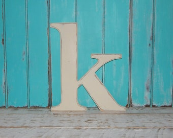 "Lowercase Wood Letters Distressed Wooden Letter k Wall Decor 14"" - 16"" Tall"