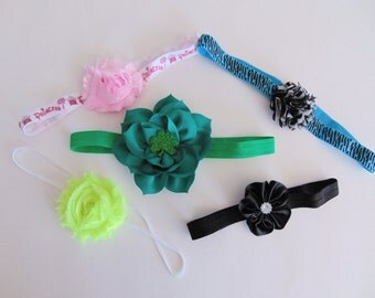Grab Bag - 5 for 5 Dollars - Assorted Baby Girl Headbands - Little Girls Hair Bow Accessories - Toddler Hairbows - Ready To Ship Gift Set C5
