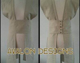 Made to order: Bridal  belt & sashes made of 100% linen decorated with gold thread