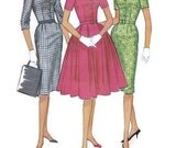 Vintage Sewing Pattern McCall's 5597 Garden Tea Wiggle Dress Full Skirt Mad Men Jackie O Style Plus Size Bust 38
