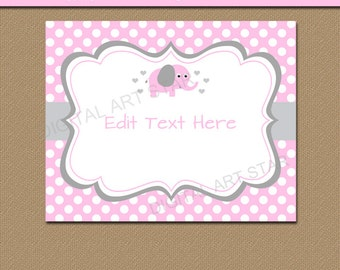 Pink Grey Baby Girl Elephant Sign - Pink and Gray Elephant Baby Shower Party Decorations - Printable Sign - 8x10 Sign - 1st Birthday Sign